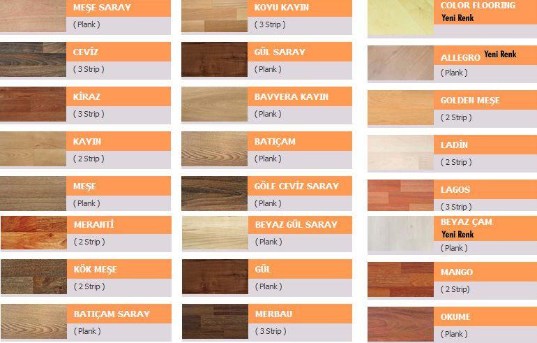 Laminat renk kartelası