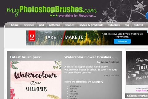 my photoshop brushes website gallery