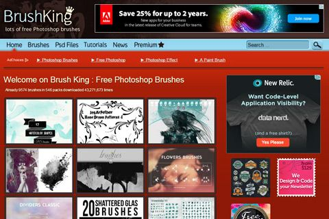 photoshop brush king website homepage